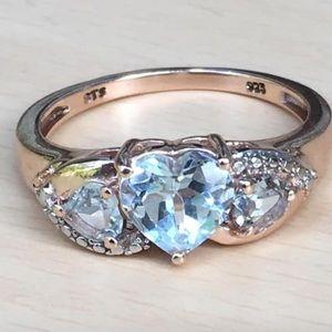 Rose gold 925 blue topaz heart ring